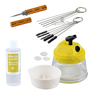 Agora-Tec airbrush CLEAN Cleaning accessory kit consisting of cleaning pot, 5 cleaning brushes, 5 cleaning needles, reamer & Vallejo airbrush cleaner 200ml