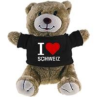 Multifanshop Kuscheltier Bär Classic I Love Schweiz beige - Lustig Witzig Sprüche Party Stofftier Püschtier