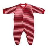 Living Crafts Baby/Kinder Frottee-Schlafanzug Bio-Baumwolle Cherry/White Striped 92