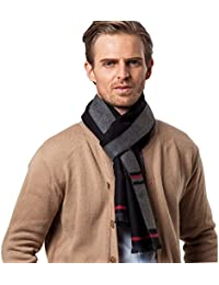 W.Best Men's Cashmere Scarf Classic Houndstooth Plaid Leisure Business Neckerchief