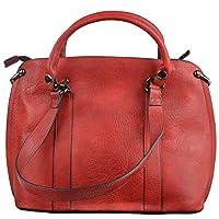 Womens Genuine Vintage Leather Handbag with Leather Strap, Top Handle Shoulder Bag, Red Leather Bag