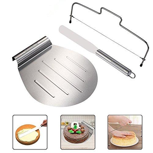 Goldbeing Kuchenheber Set inkl. Streichpalette zum sicheren Anheben von Tortenböden - Kuchenretter Edelstahl - Tortenheber mit Griff,Tortenbodenteiler als Geschenk (Marshmallow-kuchen)