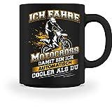 Shirtee Motocross Bikerin Cross Motorrad Biker Motocrosser Enduro Automatisch Cooler Geschenk - Tasse -M-Schwarz