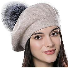 8d829eecdefd URSFUR Bonnet Béret Pompon Fourrure De Renard Chapeau Bonnet Tricot Femme  Hiver