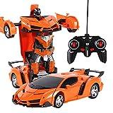 DHShop Télécommande Voiture Voiture télécommande 01:18 Un Bouton télécommande déformation Voiture Robot télécommande modèle de Voiture,Orange