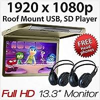 """Pantalla de Monitor de Coche Full HD DE 13,3"""" con USB y Reproductor SD para Montaje en Techo"""