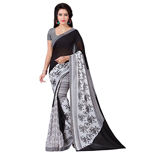 Vimalnath Synthetics Georgette Floral Print Saree (KITE3_Black)  available at amazon for Rs.299