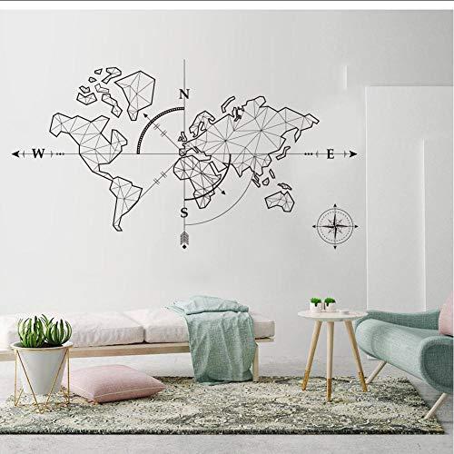 MRQXDP Abstrakte Weltkarte mit Pfeil Wandtattoo Kompass Erde Wandtattoo Klassenzimmer Weltkarte Reisen Global Exploration Adventure 85x43cm murales wallpaper pared