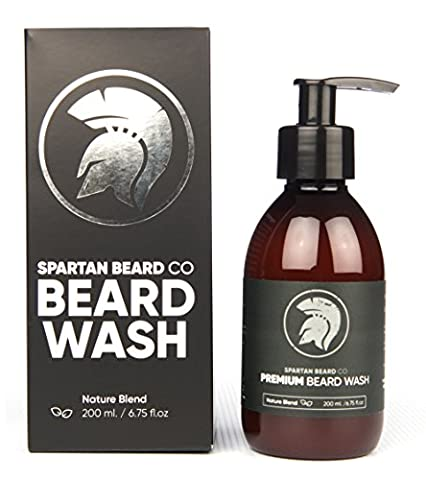 Premium Luxurious Beard Wash, Beard Shampoo by Spartan Beard Co. Made from 99% Natural Ingredients for The Best Beard Care Shampoo. Promotes Healthy Beard Growth. XL 200ml