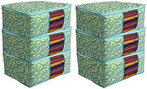 Kuber Industries Metalic Print 6 Piece Non woven Saree Cover Set, Green (CTKTC2590)