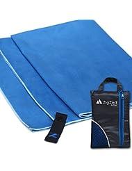 Toalla de microfibra para deportes y viajes - gran tamaño 130 x 80cm - Ultra absorbente, secado rápido, ligero, compacto - mejor gimnasio Yoga baño Beach - incluye bolsa de malla transpirable (azul)