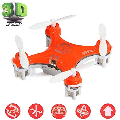 Cheerson® CX-10 Mini Drone Nano Cuadricópteros RTF - 4 Canales 6 Ejes Gyro 360 Grados 2.4G RC Minicóptero con Luz LED (Naranja)