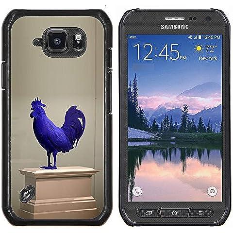 Cubierta protectora del caso de Shell Plástico    Samsung Galaxy S6 Active G890A    Gallo Museo de Arte Moderno Estatua Azul @XPTECH