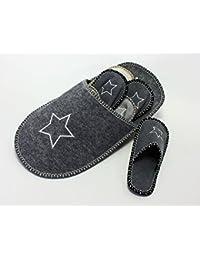 Baymate Unisex Acogedor y Cómodo Zapatillas para Casa Suave Pantuflas Color Sólido Gris Claro S QZp2N