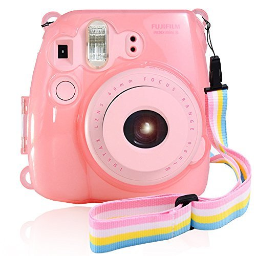 pink clear : Fujifilm Instax Mini 8 / Mini 8+ / Mini 9 Crystal Case - Wolven Crystal Camera Case with Two Adjustable Neck Shoulder Strap (One Rainbow Style / One Blue Style) - Pink Clear