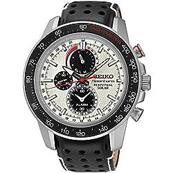 Seiko men's Quartz Watch Chronograph Display and Leather Strap SSC359P1