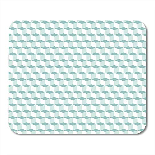 Mouse Pads Geometric Mint Green Pattern Cubes in Op Bold Techno Blocks Simple Monochrome Tech for Fall Winter Mouse Pad Mats 9.5