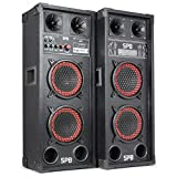 "Fenton SPB-26 PA Lautsprecher Aktivboxen Set (600 Watt max., 2 x 15 cm (6,5"")-Subwoofer, USB-Port, SD-Slot, 2 x 6,3 mm-Klinke-Mic-In, Cinch-Line-In) schwarz"