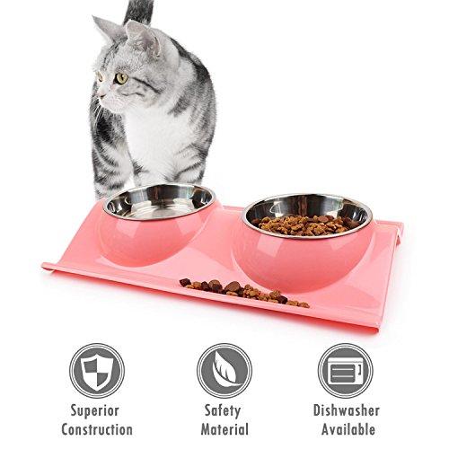 UBEST Hundenapf Anti-Schmutz Design Fressnapf abwaschbar Edelstahlnäpfen für Hunde und Katzen, Rosa