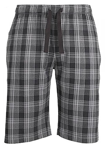 BUGATTI Herren Bermuda, kurze Schlaf-Hose, Pyjamahose, Shorty-Hose - Baumwolle, Single Jersey, grau, kariert 50 (Grau Hose Schlafen Baumwolle)