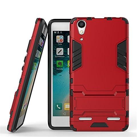 Coque Lenovo K3 Note,Etui Housse Hybride Antichoc TPU +PC Bumper Dual Layer Protection Case avec Béquille pour Lenovo K3 Note,rouge
