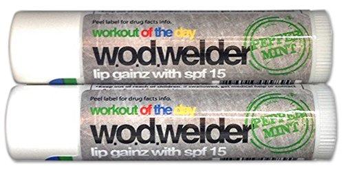 Wod Welder Lip Gainz Lip Balm 0.15oz/4.2g With SPF 15 - Aloe Vera, Beeswax, Jojoba Oil (2-Pack, Peppermint) (Stick Balm Mint Lip)