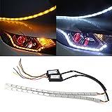 2 tiras de luces LED DRL Huayin impermeables para coche, flexibles, blancas y amarillas, luces de circulación diurna, luces de señal, intermitentes.