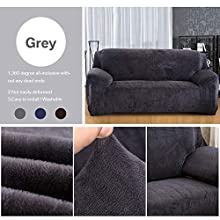 Yeahmart Thick Sofa Covers 1/2/3 Seater Pure Color Sofa Protector Velvet Easy Fit Elastic Fabric Stretch Couch Slipcover (Grey, 2 Seater 145-185cm)