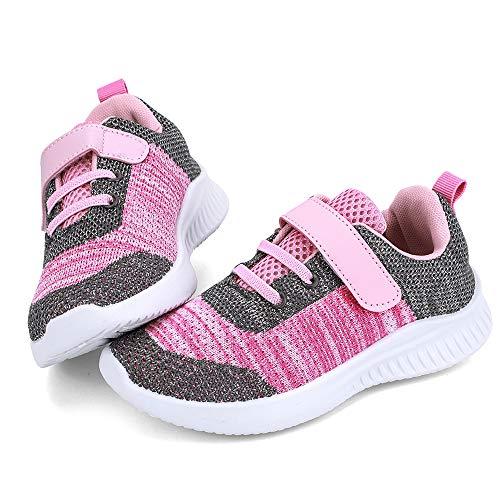 HKR Turnschuhe Jungen Sportschuhe Mädchen Hallenschuhe Kinder Kinderschuhe Sneaker Outdoor Laufschuhe für Unisex-Kinder Schuhe Pink EU 35