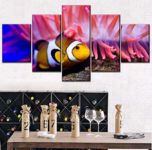 cmdyz (Kein Rahmen) Moderne Leinwanddruck Red Sea Coral Worlds Fisch Malerei 5 Stück r Combinatorial Art Style Bild Home Decor -