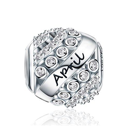 FOREVER QUEEN April Geburtsstein Charm Bead für Damen 925 Sterling Silber, zum Geburtstag, 12 Farben, Jan - Dez Anhänger für Armband und Halskette FQ0004-4