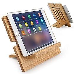 Beebo Beabo Bambus-Tablet-Ständer, verstellbar, für den Schreibtisch, Mobiltelefon, Tablet, Kindle, Laptop-Ständer (unterstützt bis zu 4,7-13 Zoll Geräte)