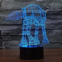 XANXUS visión ® Star Wars proyección 3d visuales LED mesa de luces de noche para niños Touch USB Lampara como saco de dormir de además de lámpara luz nocturna, AT-AT Walker