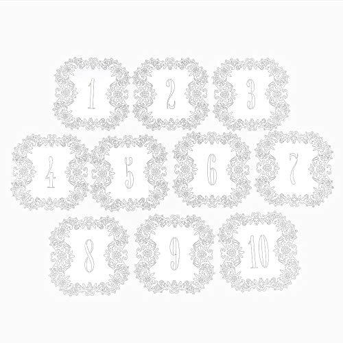 SODIAL 10 teile/satz Hochzeit Tischnummer Tabelle Karten Hohl Cut Karte Zahlen Vintage Hochzeit Dekoration Ereignis Partei Liefert 1-10 - Tabelle Teile