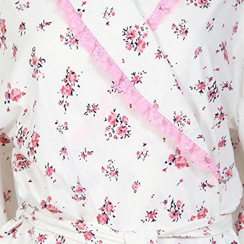 vestaglia Da donna, 100% cotone e pizzo Pink Floral on Cream