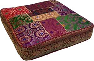 orientalisches eckiges patchwork kissen 40 cm sitzkissen bodenkissen mit. Black Bedroom Furniture Sets. Home Design Ideas