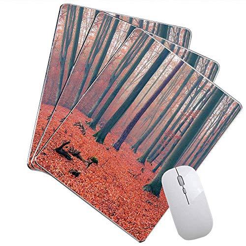 Wald-Büro-Mausunterlage Nebelige Waldbaum-Stämme verlässt reichen Herbst färbt idyllisches Landschaftsbild besonders angefertigt Mausunterlage Lachs Tan,Gummimatte 11,8'x 9,8' , 3 mm Dicke