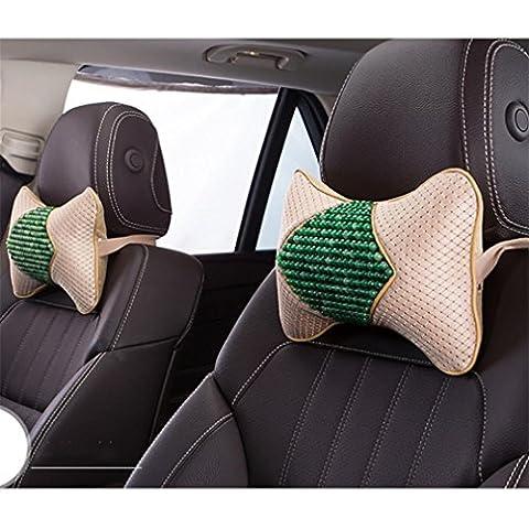LPY-Auto Auto Sitz Kopfstütze Kopf Kissen Pad Memory Foam Neck Rest Stützkissen Bürostuhl Kopf Kissen , meters green, one pair