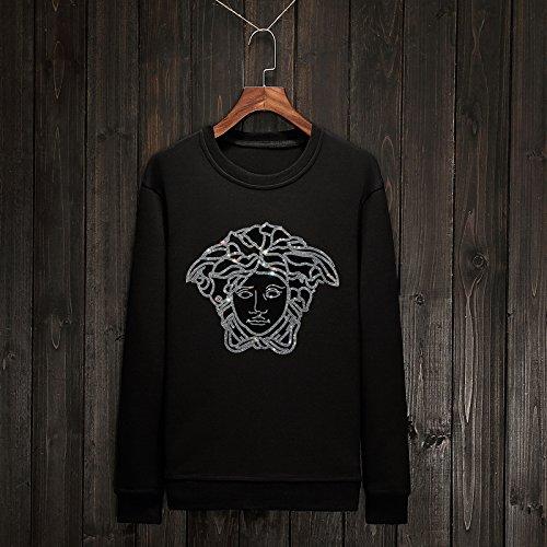 Xing Lin Pullover Con Cappuccio Maglione Uomo Scollo Rotondo A Copertura Delle Grandi Numeri Di Sau 02) Black