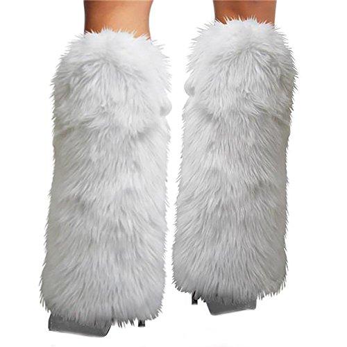 (Gupiar Damen Fellstulpen/Beinstulpen, sexy, flauschig, Weiche Stiefelmanschetten, weiß)