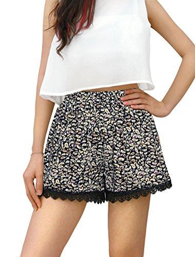 allegra-k-lady-paisleys-floral-print-lace-trim-shorts-m-black-beige