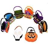 Outgeek Bolsas de Caramelo de Halloween, 8 Pack Bolso del Truco o de la invitación con la manija Bolsos portátiles del Regalo del Caramelo para los niños, niños, decoración de la Fiesta de Halloween