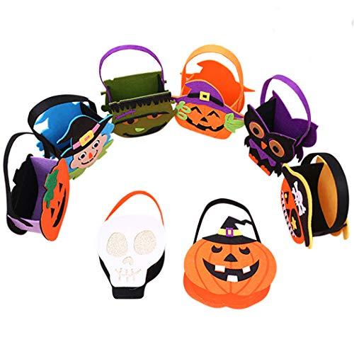 Outgeek Halloween fühlte Süßigkeitstaschen, 8 Pack Süßes sonst gibt's Saures Beutel mit Griff Portable Süßigkeits-Geschenk-Taschen für Kinder, Kinder,Halloween Party