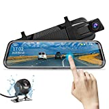 【2019 Nuova Versione】Jansite Retrocamera Auto 10 pollici Touchscreen Full HD 1080P,Telecamera Anteriore Mirror Dash Cam Specchietto Retrovisore,Telecamera Posteriore impermeabile Facile da Installare