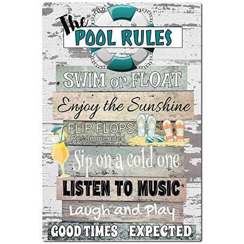 Pool Rules Metall Schild 8x 12Indoor/Outdoor Pool Decor Aluminium Schild Outdoor Decor