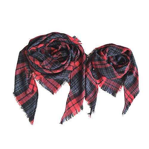 6ca8b8c993cdc7 QIMANZI Damen 2 Stück Klassisch Quaste Plaid Schal Eltern-Kind Decke  Wickeln Schal Schals(Red,2PC)