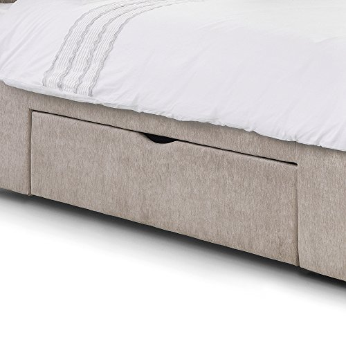 """Happy Beds Ravello Scroll 2 Drawer Storage Bed Mink Fabric Frame 4'6"""" Double 135 x 190 cm"""
