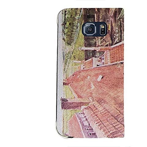 Van Gogh - View Over The Rooftops, Portafoglio Mesh Flip Custodia Protectiva in PU Pelle Wallet Case Cover Shell Nero con Design Colorato per Samsung Galaxy S6 Edge