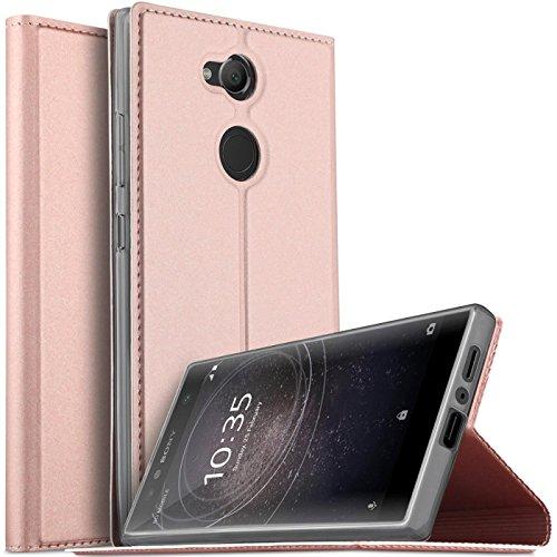 Verco Handyhülle für Xperia L2, Premium Handy Flip Cover für Sony Xperia L2 Hülle [integr. Magnet] Book Case PU Leder Tasche, Rosegold