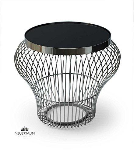 Bauhaus Couchtisch Kaffee Tisch handgefertigt aus Edelstahl mit einer gehärteten schwarzen...